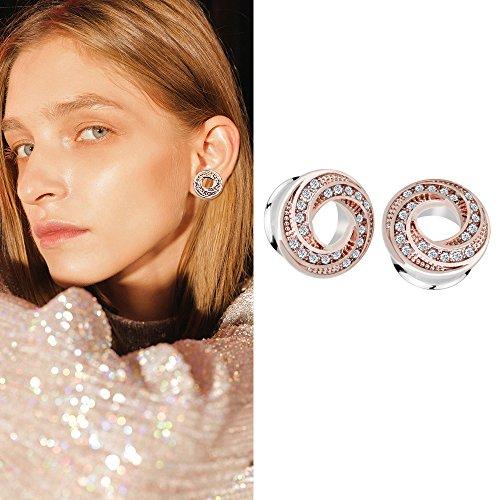 YIDULA Ear Gauges Plugs Tunnels for Ears Doughnut Diamond Stretcher Piercings Jewelry (Gold 00g-10mm)
