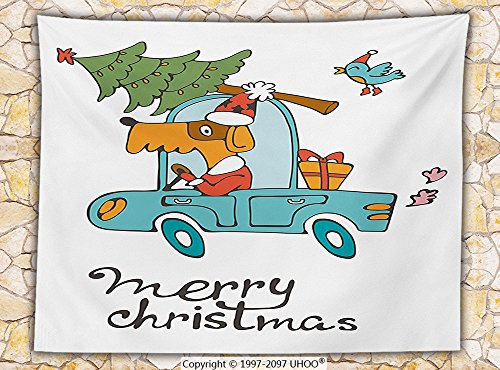 Costume Playboy Santa (Christmas Fleece Throw Blanket Blue Vintage Car Dog Driving with Santa Costume Cute Xmas Bird Tree and Gift Present)