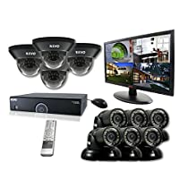 REVO America R165D4GT6GM21-2T 16 Ch. 2TB 960H DVR Surveillance System with 10 700TVL 100 ft. Night Vision Cameras & 21.5 Monitor