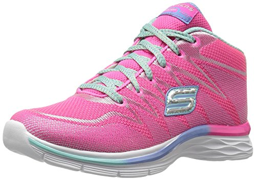 Skechers Kids Girls' Dream N'Dash-81463L Sneaker, Neon Pink/Aqua, 3.5 M US Big Kid High Top Athletic Shoes