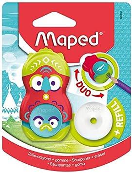 Maped Loopy Duo - Sacapuntas 2 en 1, ideal para estuche, sacapuntas, 1 agujero limpio con tapa y goma giratoria protegida + 1 recambio: Amazon.es: Oficina y papelería