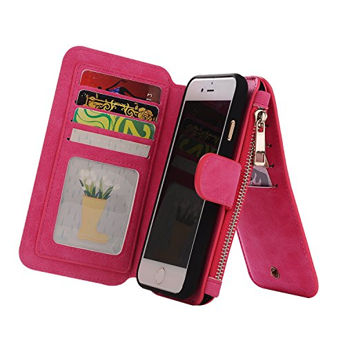 iPhone 7 Case, Firefish Multifunction Premium PU Leather Wallet Flip Cover Case with Credit Card Holder Built-in 10 Card Slots for Apple iPhone 7 2016(Not for 7 Plus) -Rose