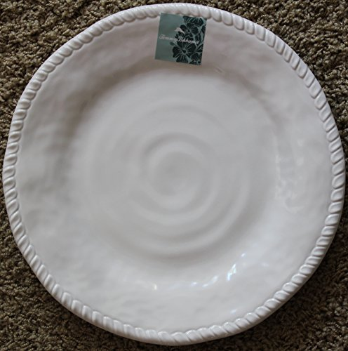 Tommy Bahama White Rope Edge Melamine Dinner Plates - Set of 4 - Approx. 11