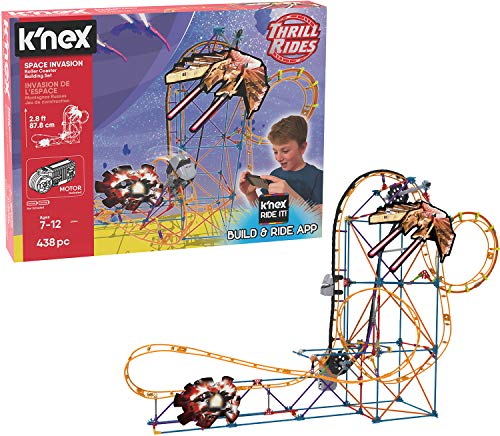 K'NEX Thrill Rides – Space Invasion Roller Coaster Building Set with Ride It! App – 438Piece – Ages 7+ Building -