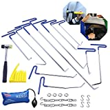 FLY5D 23Pcs Auto Body Paintless Dent Hail Repair Kit Dent Rods Kit Whale Tails Rods Air wedge Rubber Hammer(Blue)
