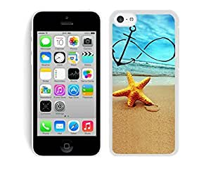 TPU Slim Phone Case for Iphone 5c Starfish on Beach Cell Phone Protective Soft Silicone White Cover Accessories
