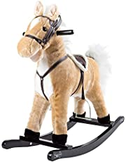 Happy Trails Rocking Horse Plush Animal on Wooden Rockers with Sounds, Stirrups, Saddle & Reins, Ride on Toy, Brown