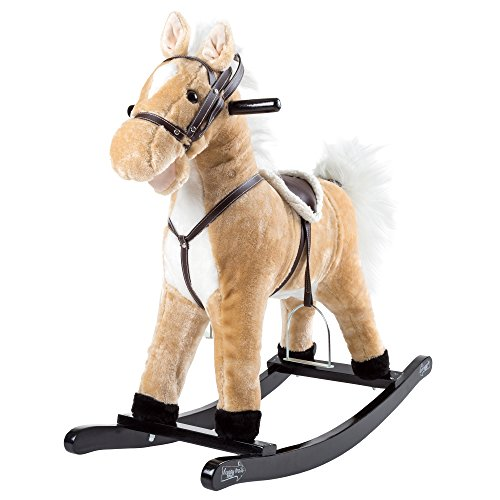 Rocking Horse Plush Animal on Wooden Rockers with Sounds, Stirrups, Saddle & Reins, Ride on Toy, Toddlers to 4 Years Old by Happy Trails - ()