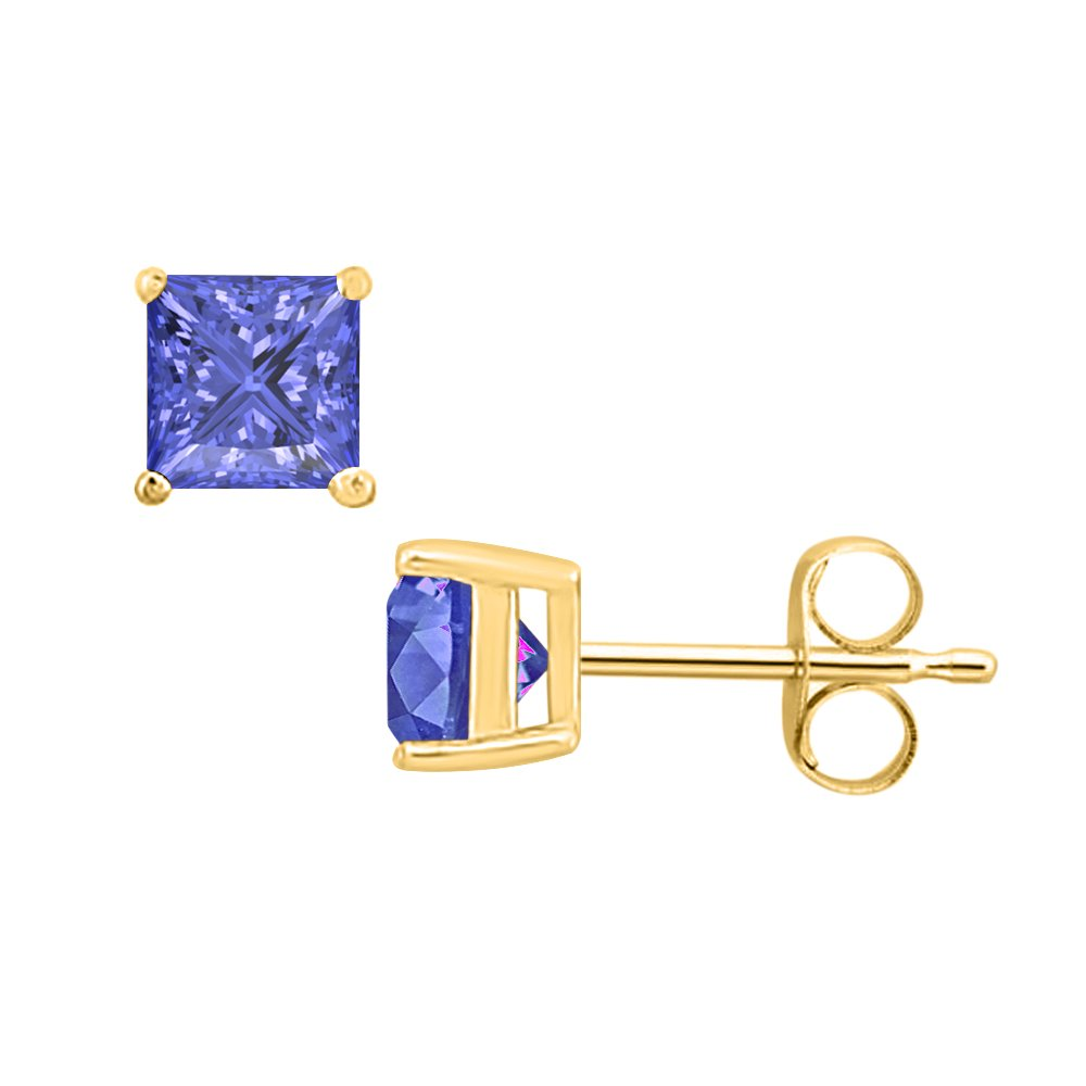 10MM RUDRAFASHION 4.50 CT Princess Cut Tanzanite Solitaire Fashion Stud Earrings 14K Yellow Gold Over .925 Sterling Silver