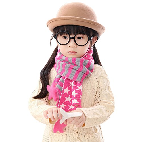 [TAORE Children Girls and Boys Christmas Classical Five Pointed Star Knit Scarf (Hot Pink)] (Make Monkey Magic Costume)