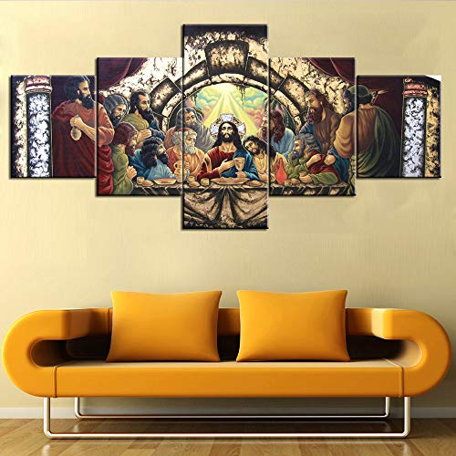 (TUMOVO Last Supper Wall Art Wooden Framed Art Leonardo da Vinci Pictures Jesus Chirst Paintings 5 Piece Canvas Home Decor for Living Room Artwork Giclee Posters and Prints Ready to Hang(50''Wx24''H))