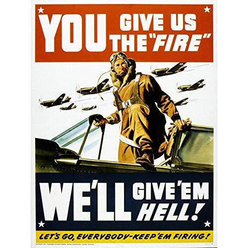 Wee Blue Coo Propaganda War WWII USA Pilot Fighter Jet Unframed Wall Art Print Poster Home Decor ()