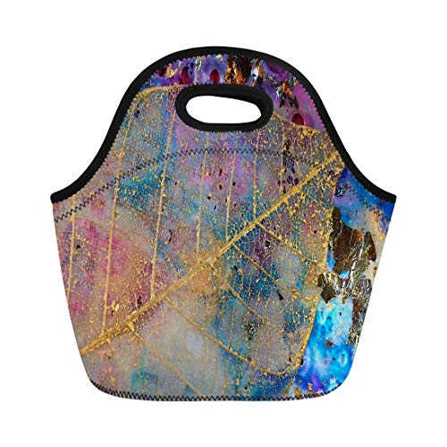 Semtomn Lunch Bags Blue Branching Gold Leaf Filigree Encaustic and Mixed Media Neoprene Lunch Bag Lunchbox Tote Bag Portable Picnic Bag Cooler Bag