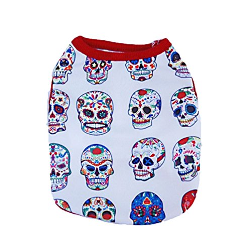 Dog Clothes,Neartime Small Doggy Cat Clothing Skull T-Shirt Cute Vest Halloween (M) (Doggy Clothing)
