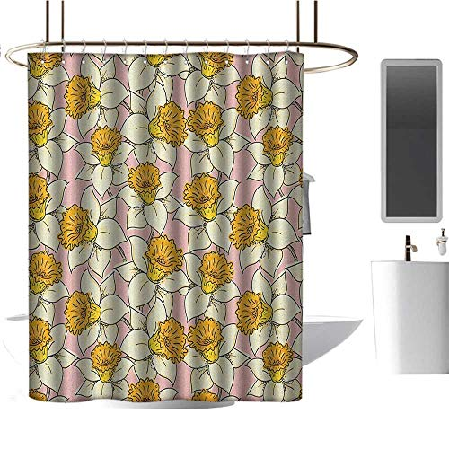 Qenuan Home Decor Shower Curtain by Yellow Flower,Playful Spring with Narcissus Daffodils Flourish Graphic Garden, Yellow Cream Pale Pink,Decorative Bathroom Curtain 36