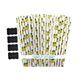 Outside the Box Papers Pineapple Theme Paper Straws 7.75 Inches 100 Pack Yellow, Green White