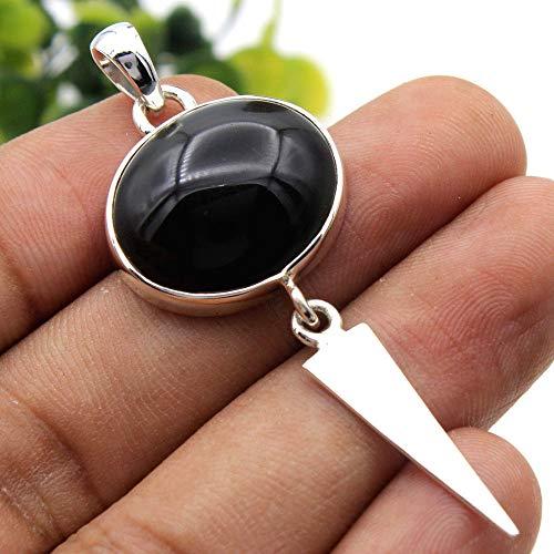 Black Obsidian Eye Oval Gemstone 925 Sterling Silver Jewelry Pendant 2.25#KD-948