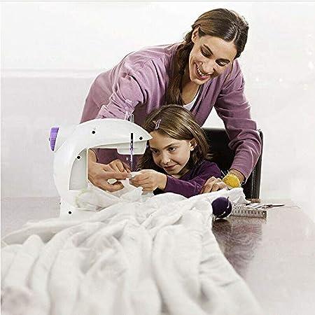 Máquina de coser eléctrica doméstica Sastre portátil de 2 velocidades Pequeña mini máquina de coser de rebobinado automática multifunción, enchufe de EE. UU.