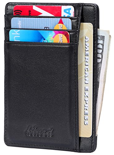 Slim Wallet RFID Front Pocket Wallet Minimalist Secure Thin Credit Card Holder (One Size, A Napa Black) by kinzd
