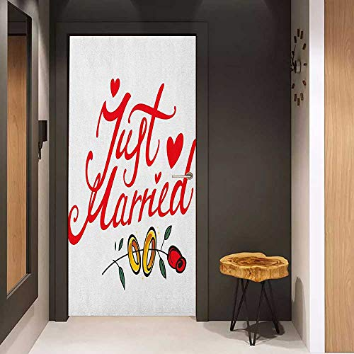 Door Sticker Wedding Just Married Hand Writing in Red and Rose with Wedding Rings Celebration Glass Film for Home Office W36 x H79 Red Fern Green White]()