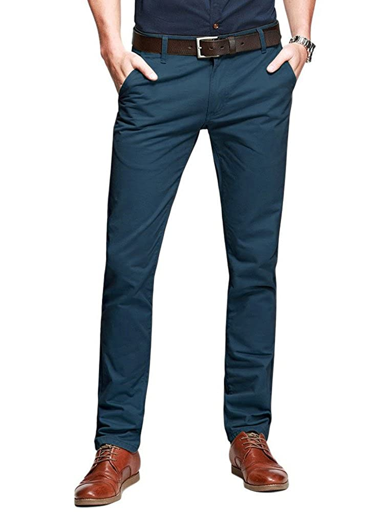 OCHENTA Men's Slim Tapered Flat Front Casual Dress Pants