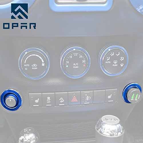 Opar Blue Side Mirror & Cigarette Lighter Cover Trim for 2011 - 2015 Jeep JK Wrangler & Unlimited