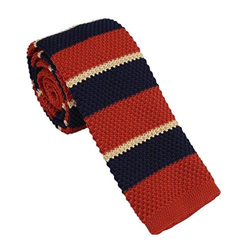 Faleto Ties Orange Retro Stripes Mens Knitted Neckties Patterns 12 2