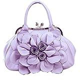 Moonwind PU Leather Satchel Tote Handbag Frame Clip Evening Shoulder Doctor Bag (Purple)