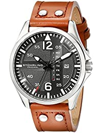 Stuhrling Original Men's 699.02 Aviator Stainless Steel Day and Date Watch with Beige Leather Strap Watch