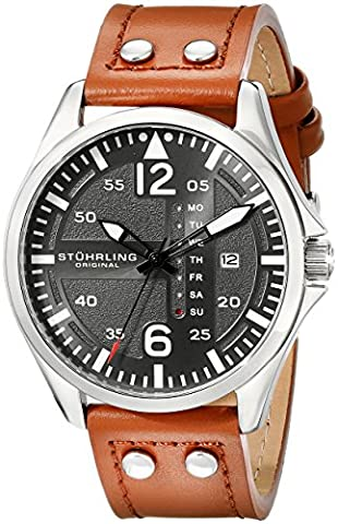 Stuhrling Original Men's 699.02 Aviator Quartz Day and Date Grey Dial Brown Leather Band Watch (Brown Leather Geneva Watch)