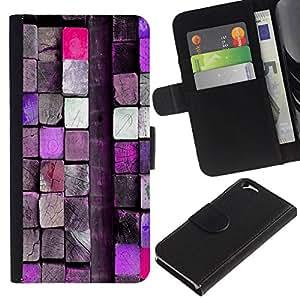 All Phone Most Case / Oferta Especial Cáscara Funda de cuero Monedero Cubierta de proteccion Caso / Wallet Case for Apple Iphone 6 // Pink Wood Block Close Up