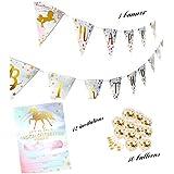 Unicorn Party Supplies - Magical Unicorn Rainbow Happy Birthday Banner Pennant, 12 Unicorn Invitations with envelopes & 10 Unicorn Balloons – Unicorn Party Decorations – By NYusta Party