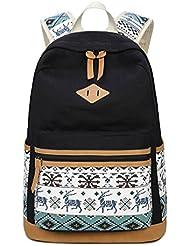 Jaeupd Lightweight Cute School Backpack For Teen Grils Student Canvas Laptop Bag Casual Travel Shoulder Daypack