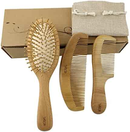40bb76ee529b Natural Wood Hair Brush with Wooden Bristles Massage Scalp Comb and Peach  Wood Beard Comb for