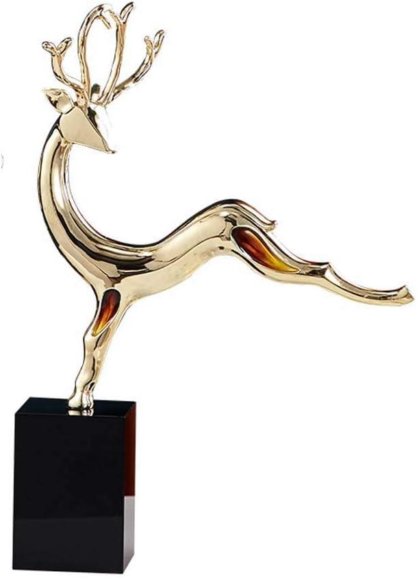 LIUSHI Metal Animal Statue Sculpture, Home Deer Statue Model Crafts Office Restaurant Cafe Wine Cabinet Decoration H34CM