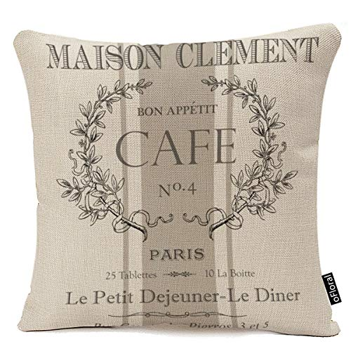 oFloral Throw Pillow Covers Modern Vintage French Cafe Decorative Pillow Case Paris Home Decor Square 18 x 18 Inch Cushion Cotton Linen Pillowcase (French Pillow)