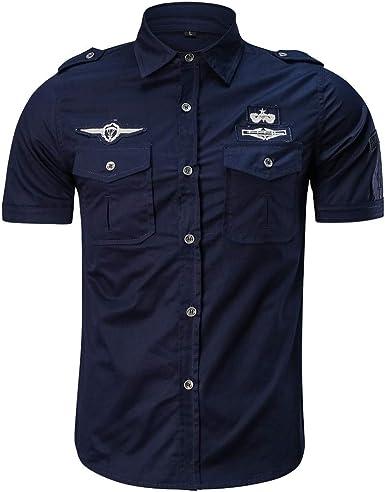 Overdose Camiseta de los Hombres Moda Casual Militar Color Puro Bolsillo Manga Corta Tops Sueltos Camisa de piloto Camiseta de Hombre del ejército: Amazon.es: Ropa y accesorios