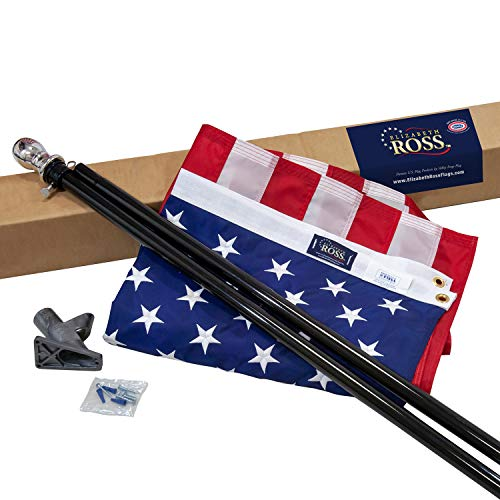 Valley Forge Elizabeth Ross American Flag Kit, Nylon Perma-NYL, 3' x 5', 100% Made in USA, 6' Steel Pole Black, 1