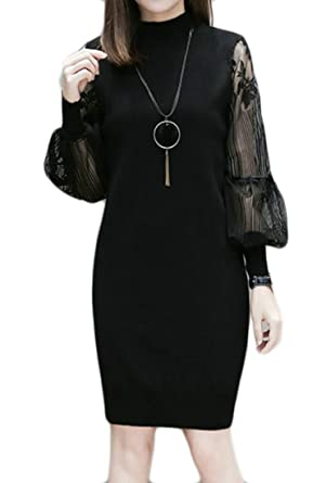 0f665d4b2ec KLJR-Women Casual Turtle Neck Knitwear Sweater Plus Size Midi Dress Black  US S