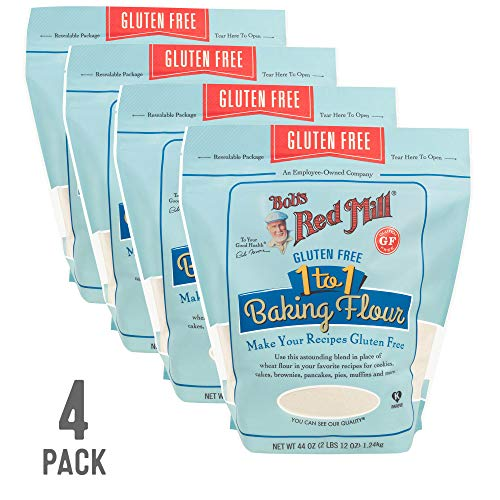 Bob's Red Mill Resealable Gluten Free 1-to-1 All Purpose Baking Flour, 44 Oz (4 Pack)
