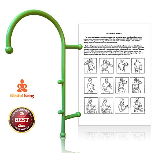 Shiatsu Staff By Blissful Being with Instruction Manual: Self-Massage Stick For Myofascial Pain Relief And Trigger Point Therapy –Lower Back, Shoulder, Neck Massager Tool For Sore And Stiff Muscles