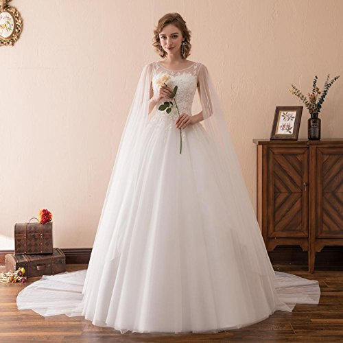 For SQS35607 Wedding BRL MALL Neck Dresses Bride Women's Scoop Ivory Vintage 74Fgq