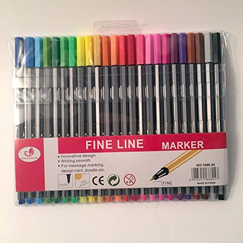 Go Cart Go 24 Colorful 0.4mm Art Marker Pen Set Fine Liner Highlighter Gel Pen Water Ink Stamp Sketch Paint Hook Fiber Drawing Painting by Go Cart Go (Image #1)