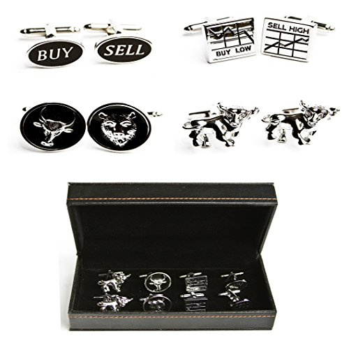 MRCUFF Wall Street Stockbroker Trader Bear Bull 4 Pairs Cufflinks in Presentation Gift Box & Polishing Cloth (Bull Bear Cufflinks)