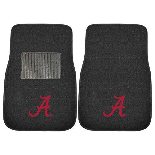 - University of Alabama Crimson Tide NCAA Collegiate Sports Team Logo Auto Vehicle Car Truck SUV Embroidered Carpet Front Floor Mats - Pair