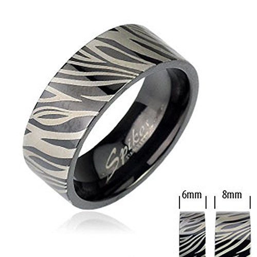 STR-0146 Stainless Steel Black IP with Zebra Print Ring 6mm, 8mm; Comes Box (8)
