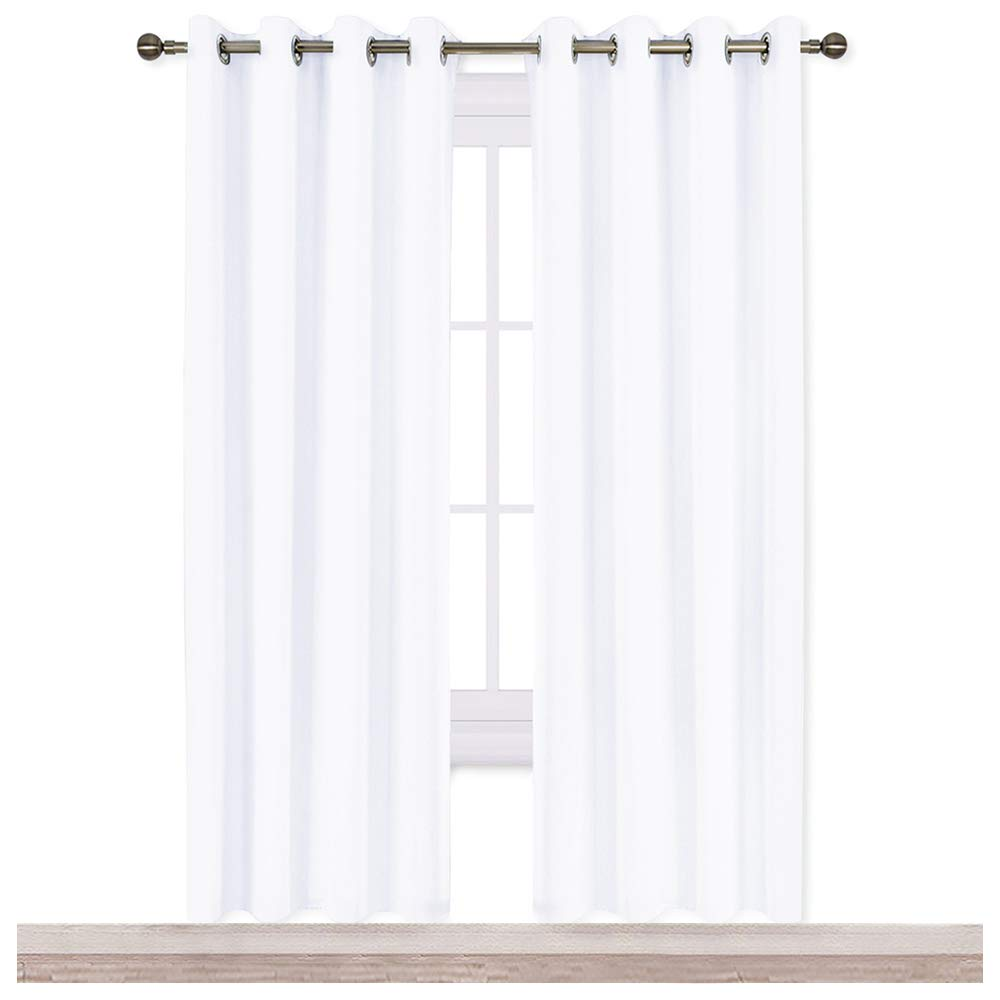 NICETOWN White Room Darkening Draperies and Curtains - Home Fashion Energy Saving Grommet Top Room Darkening Drape Panels for Bedroom (Set of 2 Panels, 52 by 72 Inch, White)