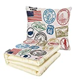 iPrint Quilt Dual-Use Pillow United States Grunge Stamps of America Las Vegas New York San Francisco Hawaii Illustration Multifunctional Air-Conditioning Quilt Multicolor