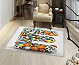 Letter E Rugs for Bedroom ABC of Sports Concept Different Gaming Balls First Name Initial Monogram Design Door Mat Increase 24''x48'' Multicolor