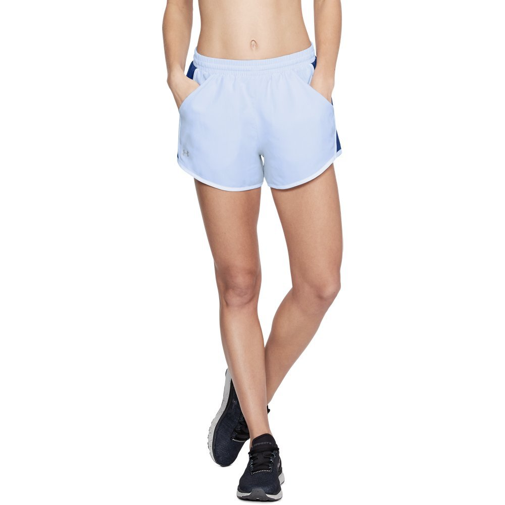 Under Armour womens Fly By Running Shorts, Oxford Blue (706)/Reflective, Small by Under Armour